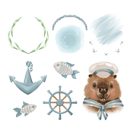 Big set of cute nautical marine elements and beaver sailor. Isolated objects on white background. Hand drawn illustration. Scandinavian style design. Concept for children print. Reklamní fotografie