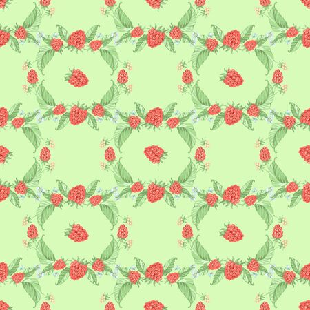 Seamless pattern. raspberries. the fruit mix. the summer mood background. Reklamní fotografie