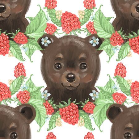 Seamless pattern with bears and raspberry. Summer background.