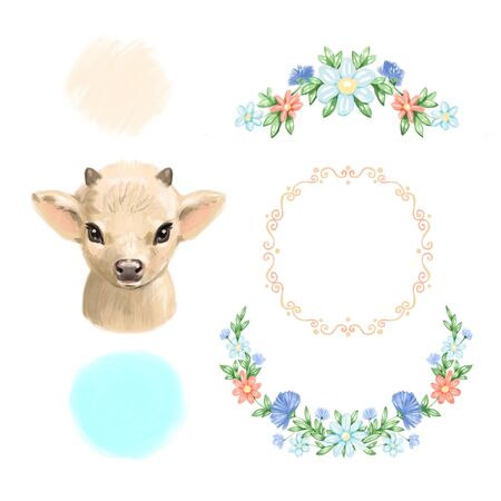 Watercolor cow. Hand drawn watercolor illustration calf isolated on white background