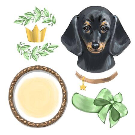 Cute dog wearing a crown. Digital illustration. Reklamní fotografie