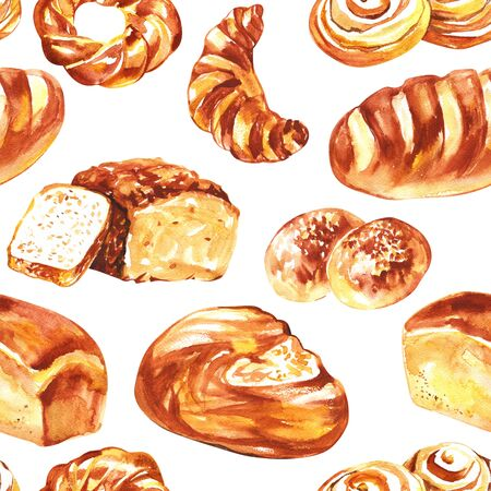 Seamless pattern watercolor. Bakery watercolor background. Yellow and brown bread tone of watercolor bakery. Seamless background.