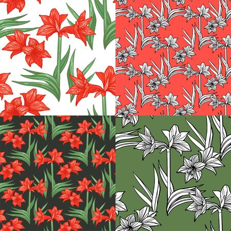 Bright colorful tropical seamless backgrounds with leaves and flowers. Hippeastrum. Amoryllis.