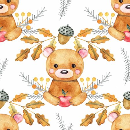 Seamless pattern with bear, tree branches, berries, apples and acorns. Cute cartoon characters. Hand drawn illustration in watercolor style.