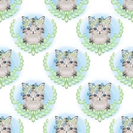 Cats in love cute seamless pattern on white