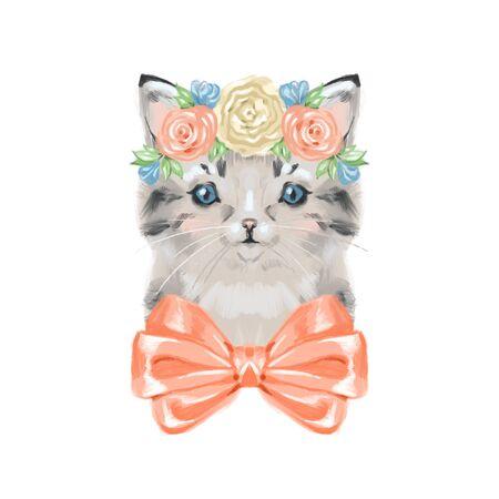 Kitten and garden flowers. Spring or summer digital illustration on white background.