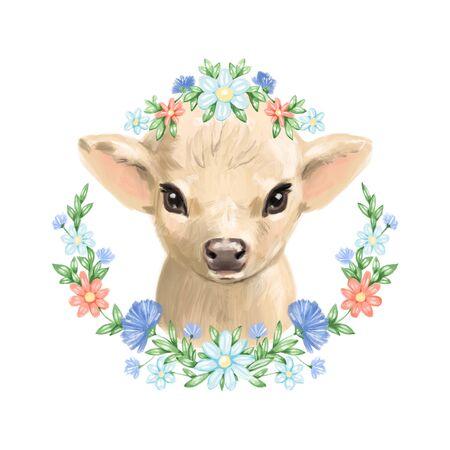 Cow watercolor illustration. farms animal. Cute domestic pet. Reklamní fotografie