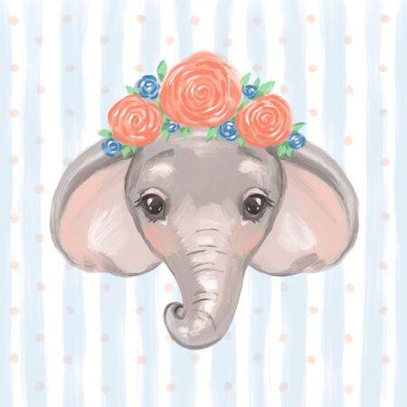 Little cute cartoon elephant - Digital watercolor illustration.