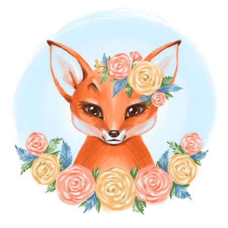 Cute hand drawn baby princess fox with floral wreath, bouquet, flowers
