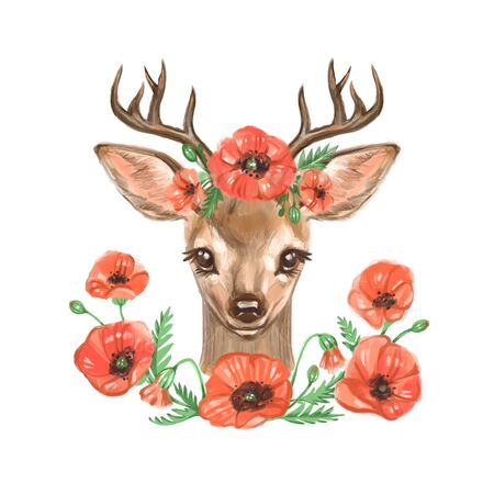 Cute deer. Digital hand drawn illustrations for kids. Cute watercolor design. Christmas theme. Perfect for greeting cards,postcards,t-shirt design and other Reklamní fotografie