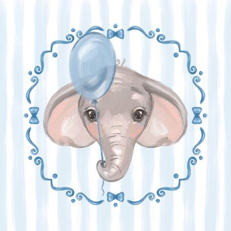 Cute elephant, welcome baby card. Kids illustration. Reklamní fotografie
