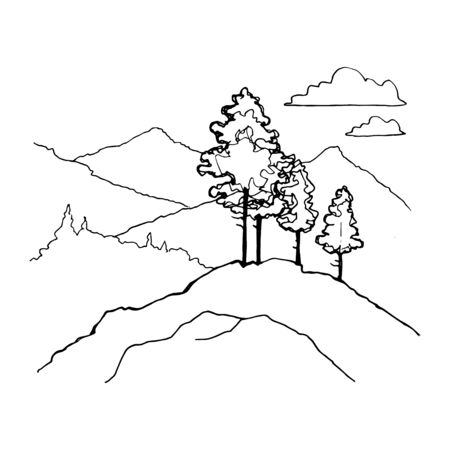 Hand Drawn black and white mountain landscape vector illustration with forest pine trees