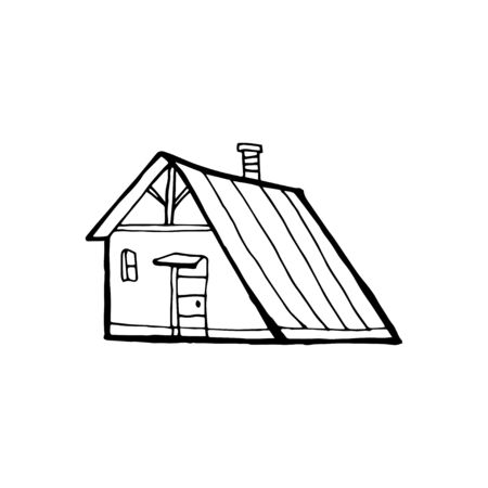 Wooden house in the forest. Vector sketch Ilustrace