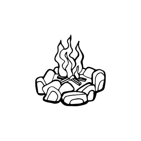 Vector poster with hand drawn campfire. Flame and burn, firewood and energy, fireplace and bonfire, vector illustration.