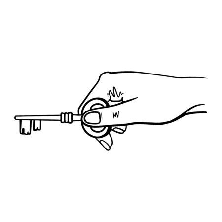 Human Hand Holding Keys on white Ilustrace