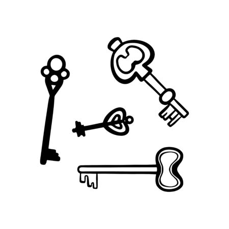 Vector Set of Sketch Modern Keys. Types of keys