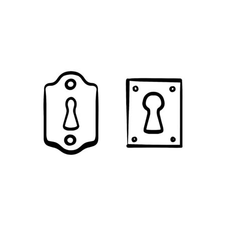 Hand drawn keyhole icon illustration doodle style isolated on white background