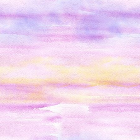 Abstract seamless pattern with pink sunset watercolor spots