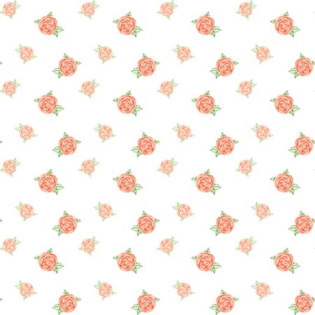 Seamless pattern of pink roses