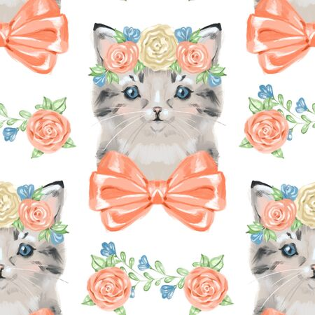 Funny retro seamless pattern with cats.