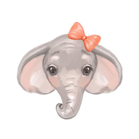 Watercolor elephant. Cute cartoon illustration, isolated on white background Reklamní fotografie