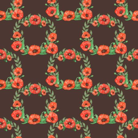 Watercolor pattern of wild flowers. Includes wreaths, poppies, leaves and herbs. Appropriate for T-shirts, wrapping paper, fabrics, greeting cards, wallpaper, wedding decoration.