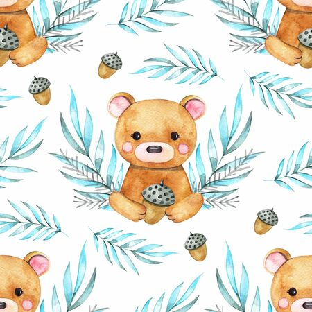 Hand drawing watercolor spring pattern of forest animals - bear with leaves. illustration isolated on white