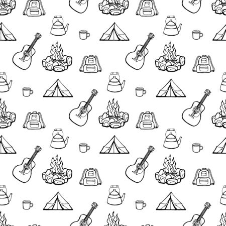 Camping - guitar and fire. Vector hand drawn seamless pattern