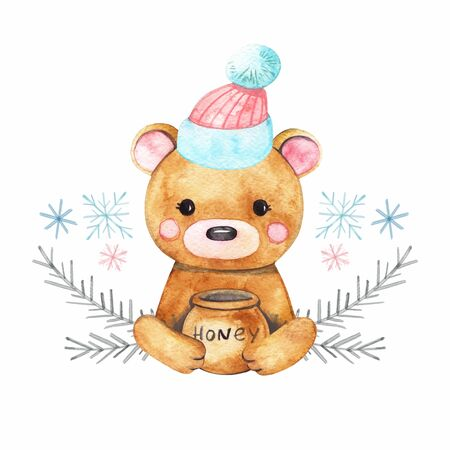 Watercolor cute bear. Christmas bear character in winter clothes. Cute bear in hat. Cute bear. Foto de archivo