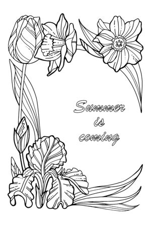 Summer is coming. Coloring book page. Decorative wreath with spring flowers