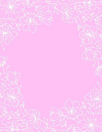 Vector background with pastel pink flowers. Vector eps-10
