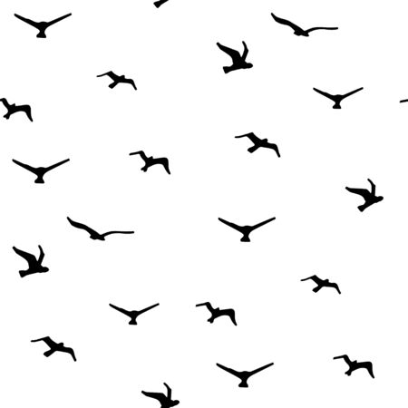 Seamless pattern with hand-drawn birds. Sky clouds background