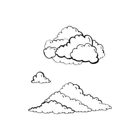 Set of vector clouds on white background. Hand draw illustration