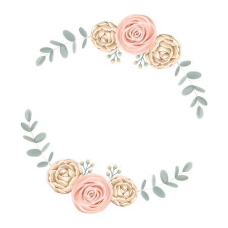 Cute rose floral frame. Watercolor roses wedding background