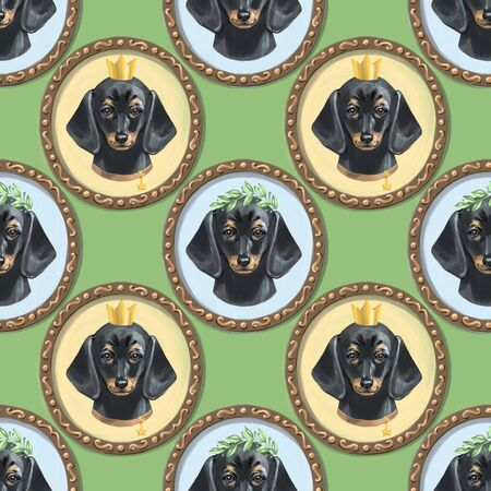 Seamless pattern with dachshunds and hand drawn elements. Childish texture. Great for fabric, textile. Digital Illustration