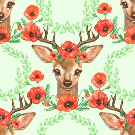 Pattern with Baby Deer. Hand drawn cute fawn on white background. Seamless background.