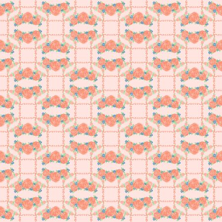 Cute seamless pattern naive colorful flower print. Rose background.