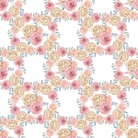 Seamless pattern with hand painted watercolor roses and leaves inspired by garden nature and plants. Romantic floral background perfect for textile, decorative paper or scrapbooking