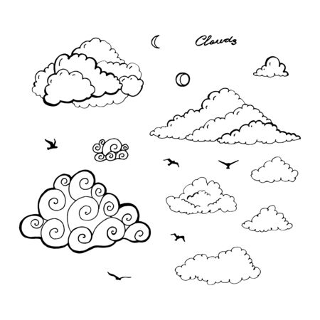 Doodle Collection of Hand Drawn Vector Clouds isolated on white background.