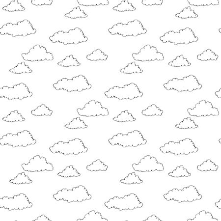 Vector hand drawn ornament clouds seamless pattern