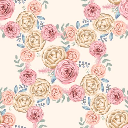 seamless cute vintage rose ,flower pattern watercolor background