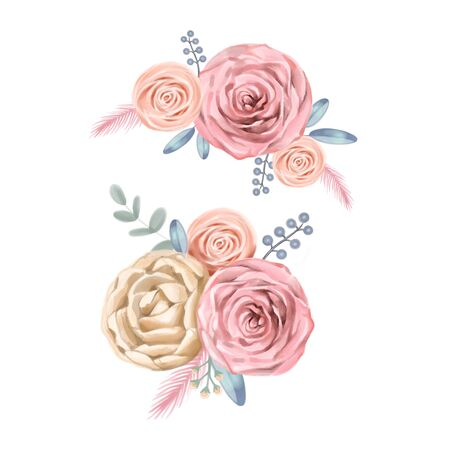watercolor flowers. floral illustration, flower in Pastel colors, pink rose and gray leaf. branch of flowers isolated on white background. Cute composition for wedding or greeting card