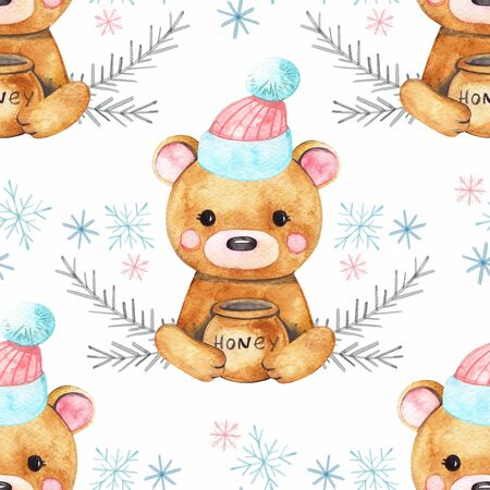 Seamless Merry Christmas patterns with cute bear animals