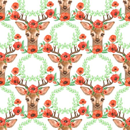 Pattern with Baby Deer. Hand drawn cute fawn on white background. Seamless background