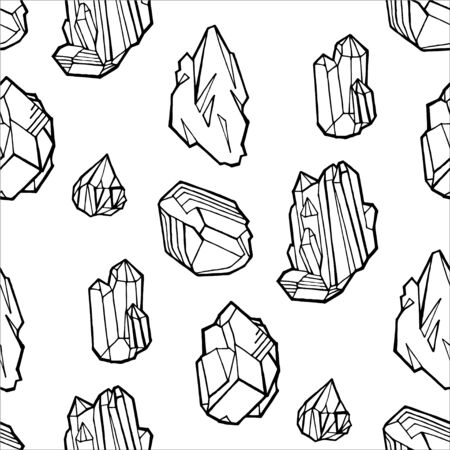 Seamless vector pattern - black outline crystals or gems, on white background, endless texture with gemstones, diamonds, hand drawn or doodle illustration