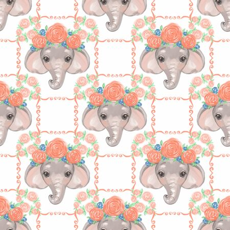 Cute colorful elephants seamless pattern. Kids scrapbooking background.