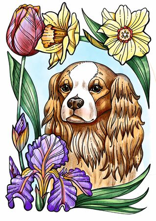 Cute dog Cavalier King Spaniel in flowers, floral wreath, bouquet Banco de Imagens