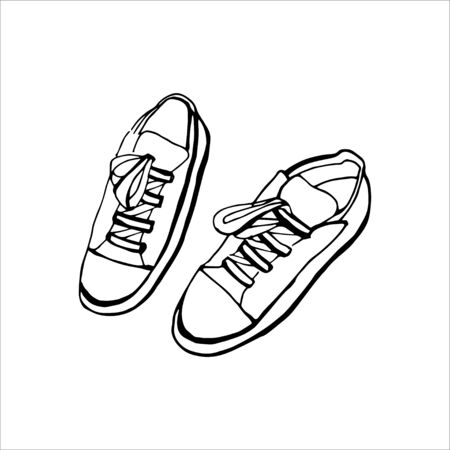 Vector Black and White Sneaker Illustration. 80s