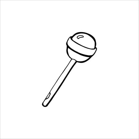Sweet candy. Lollipop. Black isolated on white background. Hand drawn vector illustration.