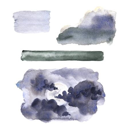 Isolated watercolor painted illustration of clouds set Banco de Imagens